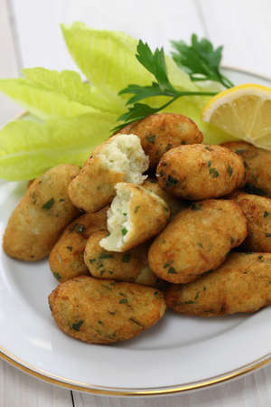 fritters: salt cod  bacalhau,bacalao  fritters, croquettes