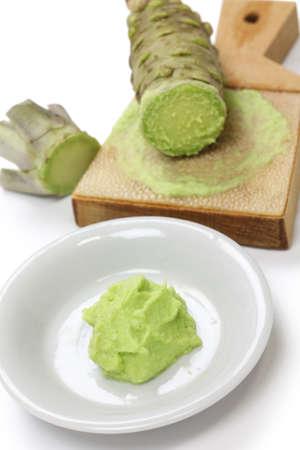wasabi: grated fresh wasabi by shark skin grater, japanese condiment for sushi and sashimi