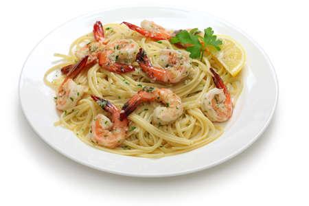 �shrimp: pasta con gambas al ajillo Foto de archivo