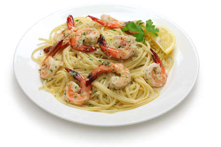 shrimp: pasta with shrimp scampi
