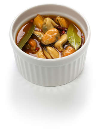 pickled: mejillones en escabeche, marinated mussels, spanish cuisine