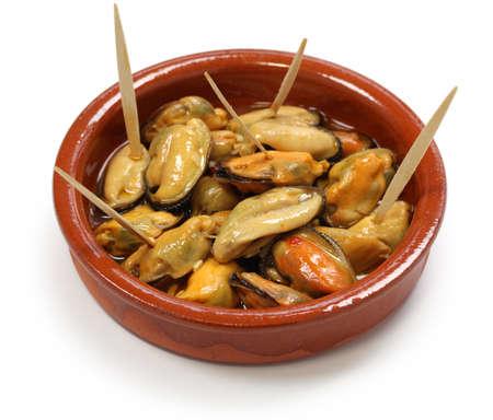 cazuela: mejillones en escabeche, marinated mussels, spanish cuisine