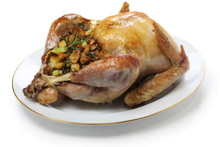 roast turkey with stuffing, thanksgiving day dinner photo