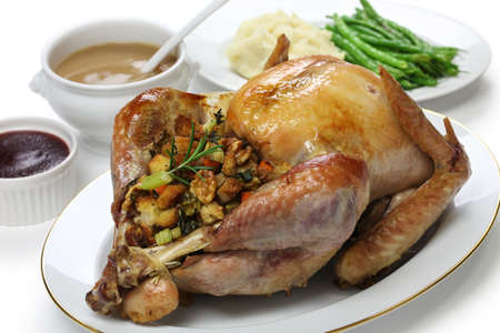 christmas turkey: roast turkey with stuffing, thanksgiving day dinner