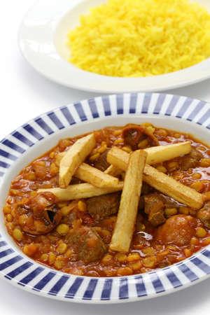 mesopotamian: khoresh gheimeh, lamb   yellow split pea stew, iranian persian cuisine