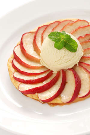 apple tart, flat apple pie  with ice cream photo