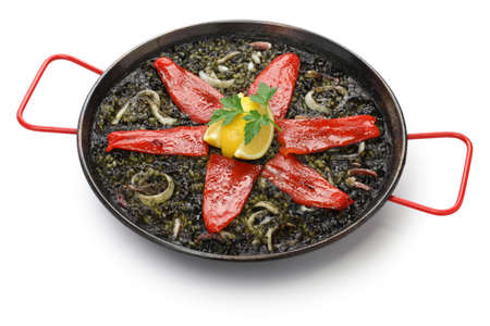 squid ink paella, spanish dish