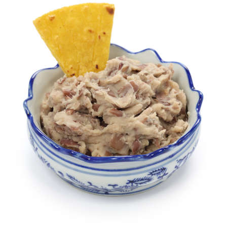 corn chip: homemade frijoles with tortilla chips, totopos, mexican snack