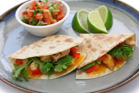 tex mex: chicken quesadillas, mexican food