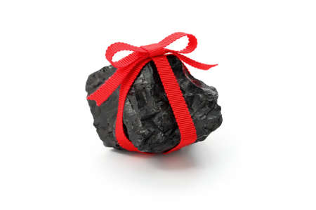 coal lump with red ribbon, christmas present for bad boys and bad girls