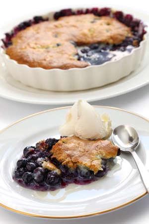uk cuisine: blueberry cobbler, traditional american dessert  Stock Photo