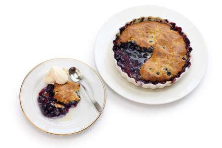 american dessert: blueberry cobbler, traditional american dessert  Stock Photo