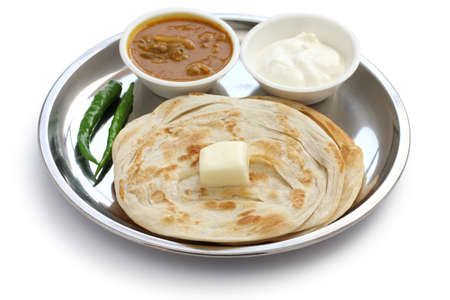 plain paratha with curry and yogurt, indian food photo