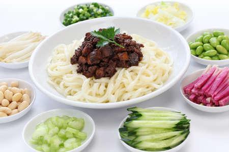 zha jiang mian Beijing style , chinese noodle cuisine