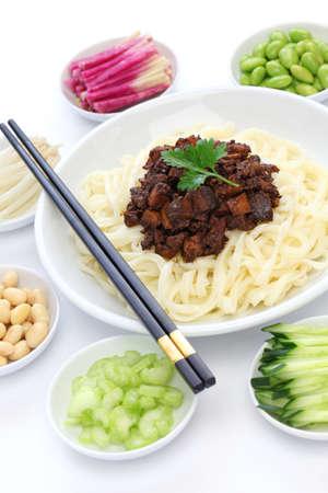 mian: zha jiang mian Beijing style , chinese noodle cuisine
