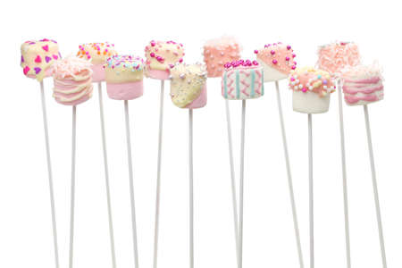 marshmallow pops for Valentines day on white background Stock Photo