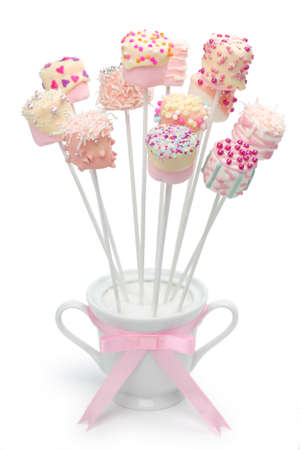 marshmallow pops for Valentines day on white background photo