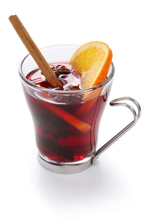 mulled wine, hot punch isolated on white background Stock Photo