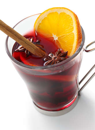 mulled wine, hot punch isolated on white background photo