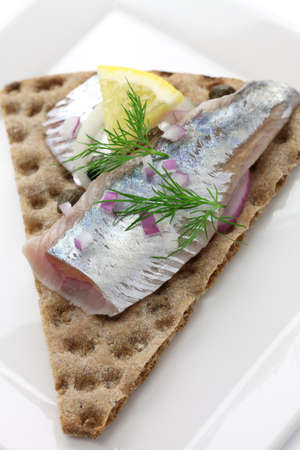 pickled herring on crisp bread, cold appetizer photo