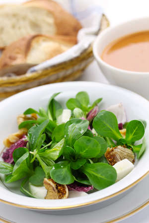 rapunzel: fresh corn salad with bread and soup Stock Photo