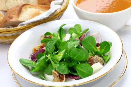 rapunzel: fresh vegetable salad with bread and soup, breakfast image