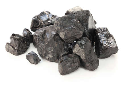 particulate: coal isolated on white background Stock Photo