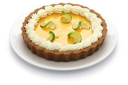 florida citrus: homemade key lime pie isolated on white background
