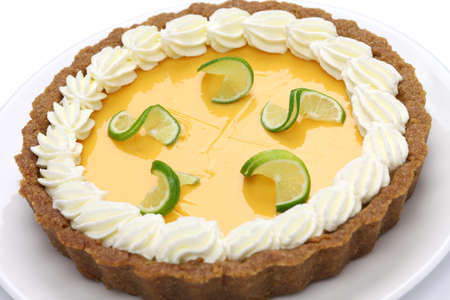 lime green background: homemade key lime pie isolated on white background