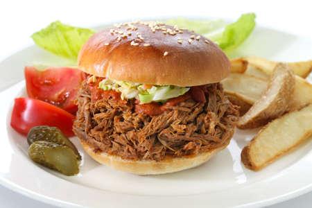 american cuisine: pulled pork sandwich, american cuisine Stock Photo