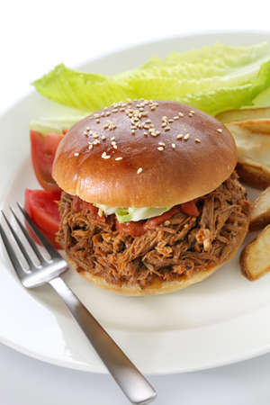 slow cooker: pulled pork sandwich, american cuisine Stock Photo