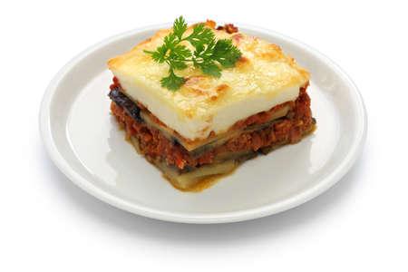 수제 moussaka입니다, 그리스 요리 스톡 콘텐츠