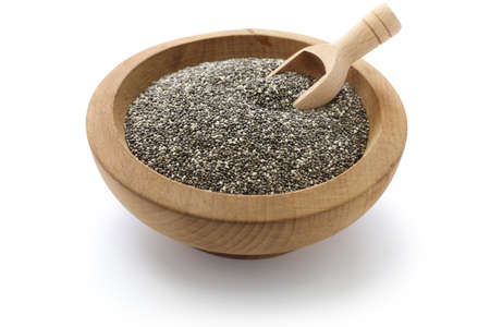 chia seeds with scoop Stock Photo