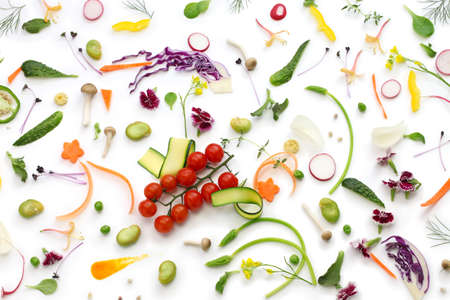 assortment fresh vegetables on white background, healthy eating concept photo