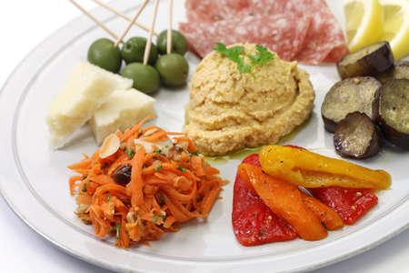 antipasto platter: homemade assortment of appetizers, antipasto platter Stock Photo