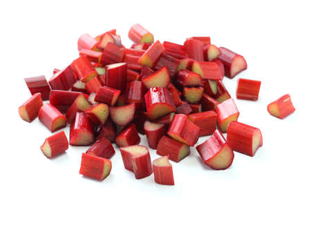 rhubarb: chopped red rhubarb on white background
