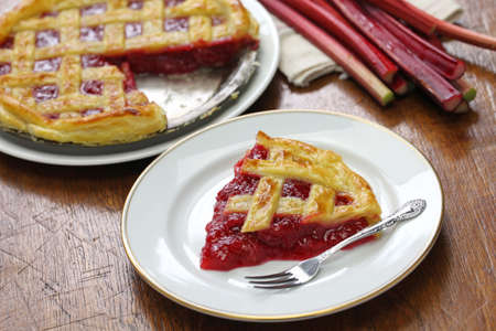 rhubarb: homemade rhubarb pie, horizontal position