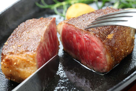 wagyu beef steak, japanese food photo