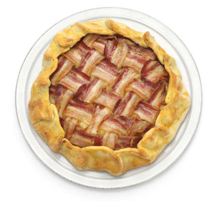 sliced cheese: homemade bacon lattice pie isolated on white background