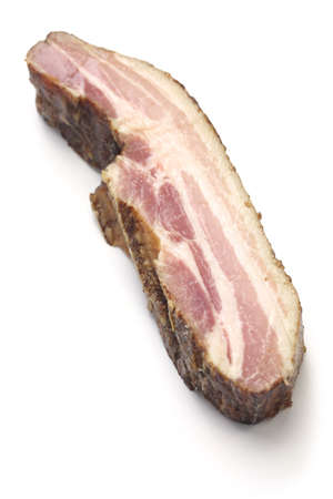 smoked bacon: smoked bacon block isolated on white background