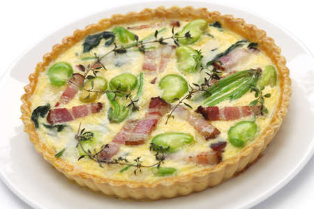 french bean: homemade quiche isolated on white background Stock Photo