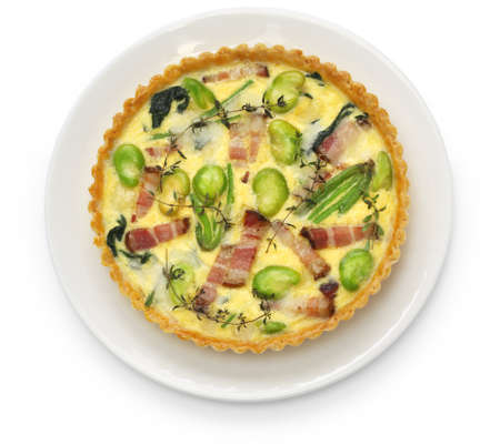 homemade quiche isolated on white background photo