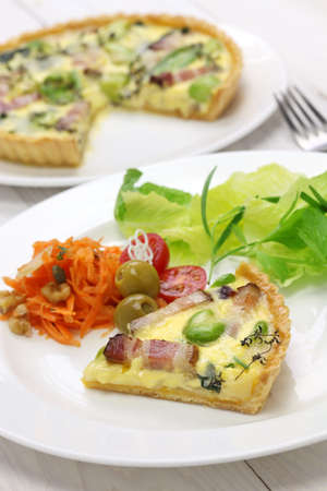 party with food: homemade quiche, French cuisine, party food