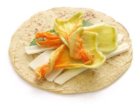 oaxaca: squash blossom quesadillas, Mexican food, quesadillas de flor de calabaza Stock Photo