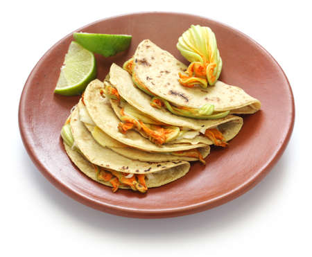 squash blossom quesadillas, Mexican food, quesadillas de flor de calabaza photo