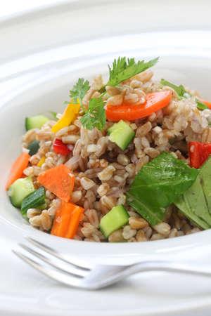 di: spelt salad, insalata di farro, italian cuisine, close up
