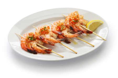 gambas: brochetas de gambas,  grilled shrimp skewers, spanish tapas cuisine