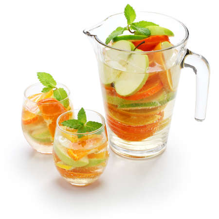 carafe: sangria blanca, white wine sangria Stock Photo
