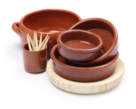 spanish tableware variety isolated on white background photo