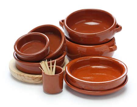 cazuela: spanish tableware variety isolated on white background